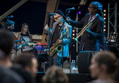 Gute Stimmung während des Konzerts des New York Ska-Jazz Ensemble am Out in the Green Garden 2019 in Frauenfeld. (Bild: Reto Martin)
