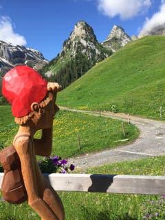 Nicht nur Wanderer, sondern auch diese kunstvolle Holzskulptur beim Alpstubli auf Gitschenen bewundern das wunderschöne Bergpanorma mit Blick auf den Maisander und den Alpler. (Bild: Brigitte Journeaux, 29. Juni 2019)
