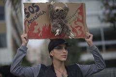 SOS Amazonia: Eine Brasilianerin macht sich bei Protesten für den Amazonas stark. (Bild: Bruna Prado)