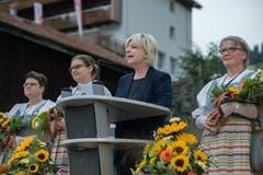Gemeindepräsidentin Sabine Wermelinger hielt eine Rede (Bild: Pius Amrein, Sörenberg, 27. August 2019)