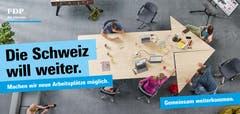 Auch neue Arbeitsplätze sind ein Wahlkampf-Thema auf den FDP-Plakaten. (Bild: FDP)