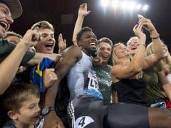 Noah Lyles, Sieger über 100 m und Publikumsliebling im Letzigrund (Bild: KEYSTONE/JEAN-CHRISTOPHE BOTT)