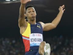 Für die vierte Jahresweltbestleistung sorgte Kubas Weitspringer Juan Miguel Echevarria mit 8,65 Metern bei seinem einzigen gültigen Versuch (Bild: KEYSTONE/JEAN-CHRISTOPHE BOTT)