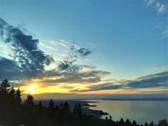Sonnenuntergang auf dem Fünfländerblick. (Bild: Irene Weibel)