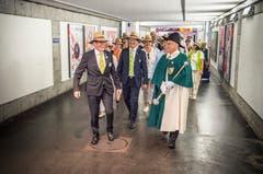Ankunft des Thurgauer Extrazuges in Vevey. Die Regierung zuvorderst. (Bild: Andrea Stalder)