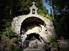 Ein Ort der Ruhe und Stille; So nimmt man diese wunderschöne Lourdes-Grotte in Marbach war. (Bild: Margrith Imhof-Röthlin, 1. August 2019)