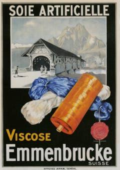 Ein Werbeplakat der Viscose-Fabrik, auf dem die alte Brücke über die kleine Emme abgebildet ist.