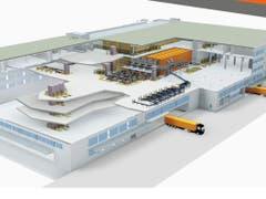 Das neue Logistikzentrum von Fust in Oberbüren im Modell. Es ist mit 50'000 m2 doppelt so gross wie das alte Lager am gleichen Standort. (Bild: Bild von Fust zur Verfügung gestellt)