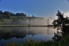 Morgennebel über dem Osterbau. (Bild: Ledi Herzog, Willisau, 12. September 2019)