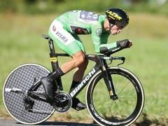 Nach der 10. Etappe und seinem Sieg im Einzelzeitfahren übernahm Primoz Roglic das Leadertrikot (Bild: KEYSTONE/EPA EFE/JAVIER LIZON)