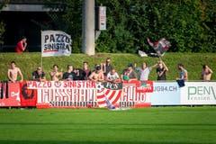 Die mitgereisten Fans aus Solothurn. (Bild: Christian H. Hildebrand, Zug, 14.September 2019)