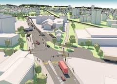 Die Blumenfeldstrasse und der Knoten Klosterstrasse. (Visualisierung: PD)