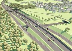 Das Anschlusswerk und Portal Süd beim Tunnel Hohrein. (Visualisierung: PD)