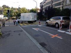 Die neue Situation für Autofahrer, die nach links vom Oberen Graben in die St.-Leonhard-Strasse einbiegen müssen.