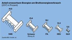 Wie hoch ist der Anteil erneuerbarer Energien in der Schweiz im Vergleich? (Bild: Lea Siegwart)