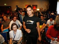 Bei der Stabhochspringerin Jelena Isinbajewa war der Pressesaal immer voll. (Bild: KEYSTONE/STEFFEN SCHMIDT)