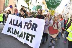 «Alle für das Klima», heisst es auf schwedisch auf diesem Plakat. (Claudio Bresciani/TT News Agency via AP, Stockholm)