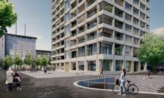 Geplant sind auch 165 Wohnungen, von denen 30 preisgünstig angeboten werden. (Bild: PD/Beat Bühler, Zürich)