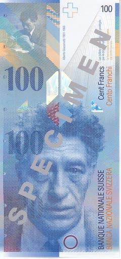 Reproduktion der Vorder- und Rückseite der 100-Franken-Banknote («Alberto Giacometti») der SNB, 8. Serie, ausgegeben 1998. (Quelle: Archiv der SNB)