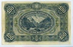 Reproduktion der Rückseite der 100-Franken-Banknote («Wilhelm Tell II») der SNB, 3. Serie, ausgegeben 1918, zurückgerufen 1925. (Quelle: Archiv der SNB)