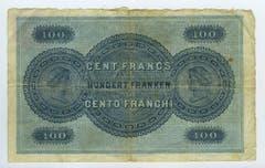 Reproduktion der Rückseite der 100-Franken-Banknote der SNB, 1. Serie, ausgegeben 1907, zurückgerufen 1925. (Quelle: Archiv der SNB)