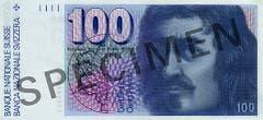 Reproduktion der Vorderseite der 100-Franken-Banknote («Francesco Borromini») der SNB, 6. Serie, ausgegeben 1976, zurückgerufen 2000. (Quelle: Archiv der SNB)