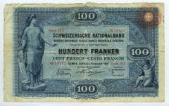 Reproduktion der Vorderseite der 100-Franken-Banknote der SNB, 1. Serie, ausgegeben 1907, zurückgerufen 1925. (Quelle: Archiv der SNB)