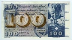 Reproduktion der Vorderseite der 100-Franken-Banknote («St.Martin») der SNB, 5. Serie, ausgegeben 1957, zurückgerufen 1980. (Quelle: Archiv der SNB)