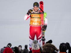 Ein gewohntes Bild im Weltcup und an Grossanlässen: Sieger Marcel Hirscher (Bild: KEYSTONE/JEAN-CHRISTOPHE BOTT)