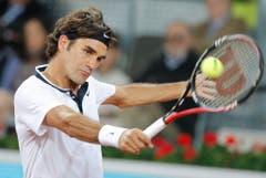 2010: Achtelfinal Madrid: Federer s. Wawrinka 6:3, 6:1In der spanischen Hauptstadt zeigt sich Federer von seiner besten Seite und gewinnt in 69 Minuten klar und deutlich. Der Baselbieter gewinnt dabei 65 der insgesamt 105 gespielten Punkte - eindrücklich! (Bild: Keystone)