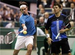 2005: Achtelfinal Rotterdam: Federer s. Wawrinka 6:1, 6:4Das erste Duell zwischen den beiden Schweizern ist eine klare Angelegenheit zugunsten der damaligen Weltnummer 1, Roger Federer. Er lässt seinem Landsmann, der damals die Nummer 128 der Welt ist, keine Chance und siegt in zwei Sätzen. (Bilder: Keystone)
