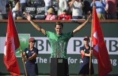 2017: Final Indian Wells: Federer s. Wawrinka 6:4, 7:5Auch in Übersee ist Federer der Boss. Er gewinnt das Turnier in Indian Wells und dabei auch noch zum ersten Mal einen Final gegen seinen Landsmann aus Lausanne. Es ist Federers 90. Turniersieg auf der ATP-Tour. (Bild: Keystone)