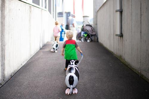 Spaziergang mit Ballon-Kühen: Auch für die kleinen Besucher hat die Olma einiges zu bieten. (Bild: Keystone)