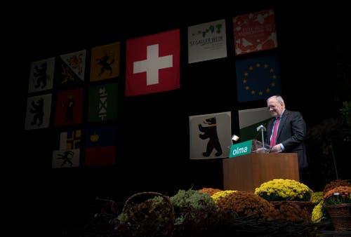 Der abtretende Bundesrat Johann Schneider-Ammann hält die Olma-Eröffnungsrede. (Bild: Keystone)