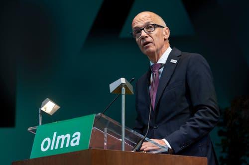 Neben Schneider-Ammann hielt auch St.Gallens Stadtpräsident Thomas Scheitlin eine Ansprache. (Bild: Keystone)