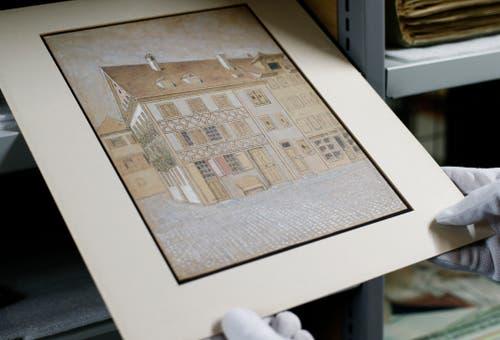 Diese Zeichnung zeigt das Haus an der Neugasse, in dem sich später die Drogerie Luthiger befand.