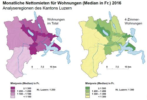 Im Entlebuch lässt es sich am günstigsten wohnen – im Raum Sursee, in den Seegemeinden, in Teilen des Rontals sowie der Region Wolhusen sind die Mieten am teuersten. (Quelle: Lustat Statistik Luzern)
