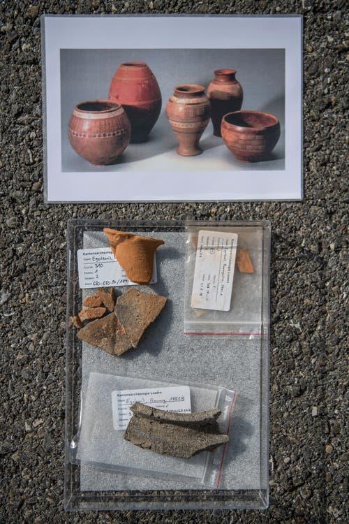 Überreste von Kelten-Keramiken, geborgen bei der Grabungsstelle Egolzwil-Baumgarten. (Bild: Pius Amrein (Egolzwil, 17. Oktober))