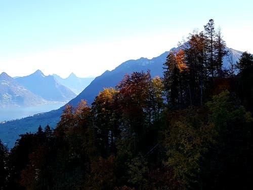 Morgenstund hat goldgelb im Mund: Sicht Richtung Mythen vom Stanserhorn aus. (Bild: Rolf Stocker (Stanserhorn, 16. Oktober 2018))