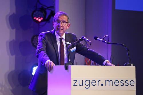 Urs Hofmann, Regierungsrat des Gastkantons Aargau bei der Festansprache. (Bild: Roger Zbinden (Zug, 20. Oktober 2018))