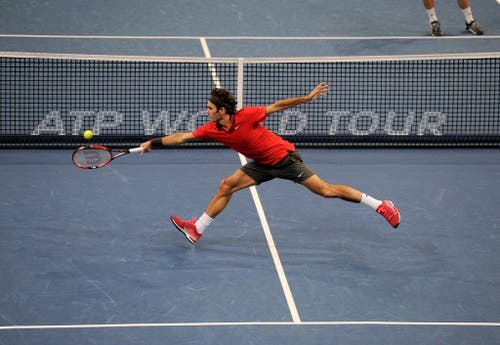 2014 - Roger Federer kämpft im Final gegen den Belgier David Goffin. (PHOTOPRESS/Kurt Schorrer)