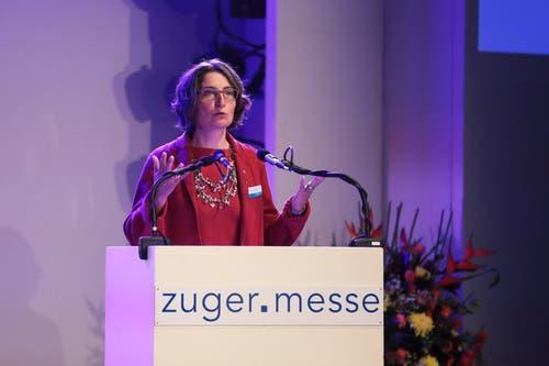 Manuela Weichelt-Picard, Regierungsrätin Zug bei der Festrede. (Bild: Roger Zbinden (Zug, 20. Oktober 2018))