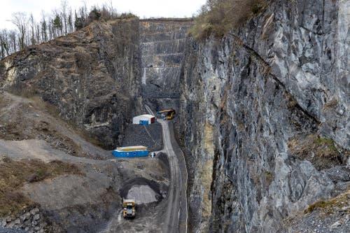 Der Steinbruch Zingel Kehrsiten während des Ausbruchs des Untertagebauwerks (hinten der Zugang) (Bild: Gasser Felstechnik Lungern, 9. April 2018)