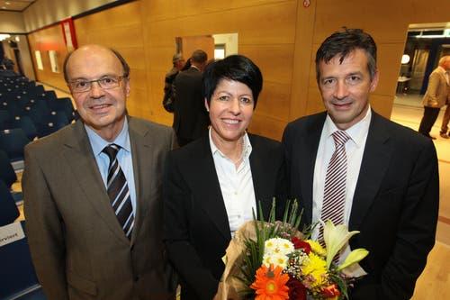 Die FDP Nidwalden nominiert ein Trio mit Gerhard Odermatt (bisher, links) und den beiden Neuen Yvonne von Deschwanden und Hans Wicki für die Regierungsratswahlen 2010. (Bild: Roger Zbinden (Stansstad, 12. November 2009))
