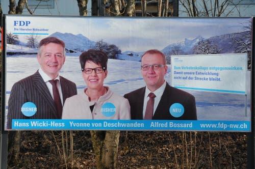 Das FDP-Kandidaten-Trio für die Regierungsratswahl von 2014 (von links): Hans Wicki, Yvonne von Deschwanden und Alfred Bossard. (Bild: Geri Wyss (25. Februar 2014))