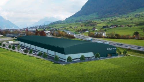 So wird die neue Strukturbauhalle der Pilatus Flugzeugwerke auf dem Flugplatz Buochs aussehen. Im Mai 2019 beginnt der Bezug der Halle. (Visualisierung: PD)