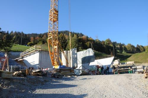Baustelle Trinkwasserreservoir Gubermatt in Obstalden. (Bild: Philipp Unterschütz, Sarnen, 26. Oktober 2018)