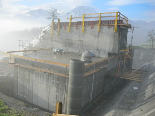 Rohbau des Reservoirs Talen am 20. Dezember 2012. (Bild: PD)