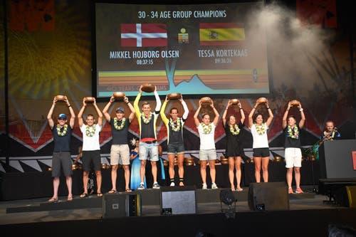 Es war eine starke Leistung, die Scherrer (4. von rechts) ablieferte. In ihrer Alterskategorie wurde sie Zweite und insgesamt 34. von 608 teilnehmenden Frauen.