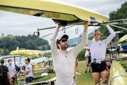 Ruderwelt Rotsee: Mario Gyr (links) mit seinem neuen Partner Paul Jacquot. (Bild: Pius Amrein, Luzern, 11. Juli 2018)